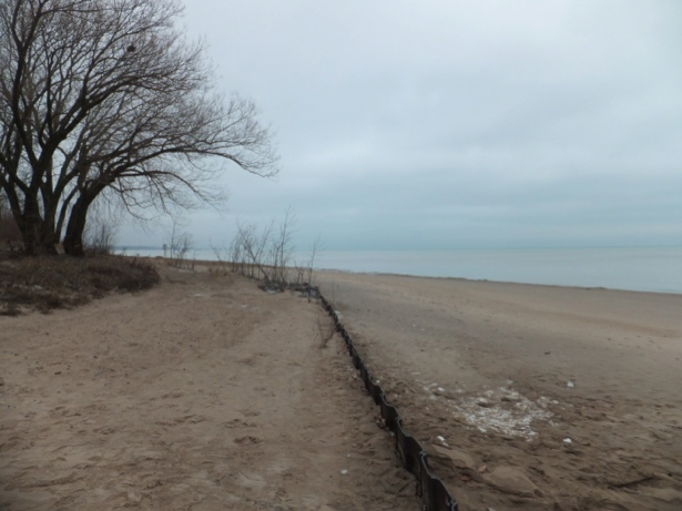 January 11, 2013, looking northwest along lakeshore, Wilmette, Illinois, Gillson Park