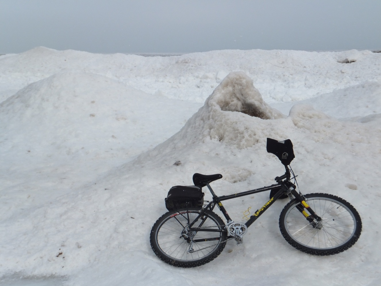 January 24, 2013, looking northeast along lakeshore, Wilmette, Illinois, Langdon Park (bike for scale)