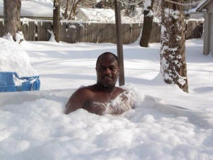 The snow didn't stop this guy from enjoying his hot tub.