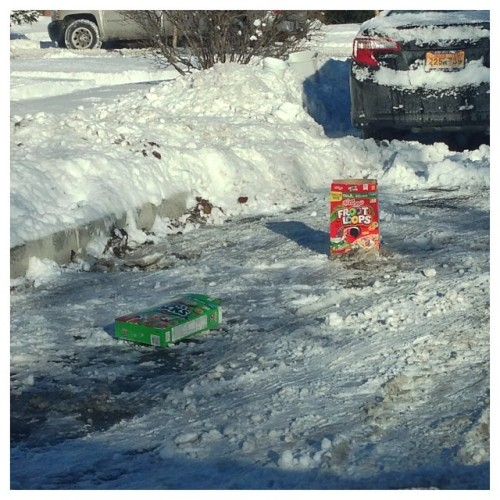 This person tried to save their parking spot with a box of Apple Jacks and Fruit Loops. (source)