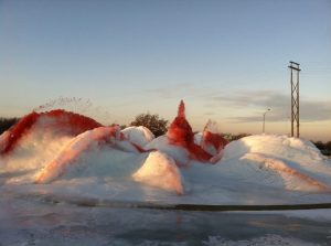 In Kansas City, Parks and Recreation officials dyed this fountain red in support of the playoff-bound Chiefs, but it froze.
